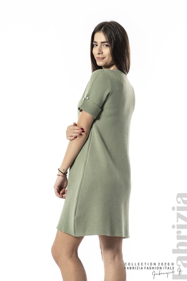 Къса едноцветна рокля бл.зелен 4 fabrizia