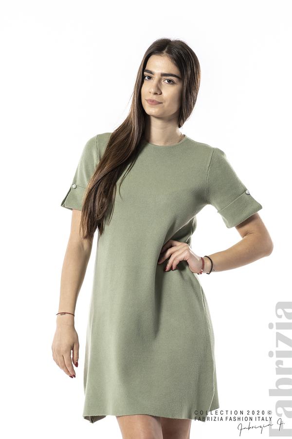 Къса едноцветна рокля бл.зелен 1 fabrizia