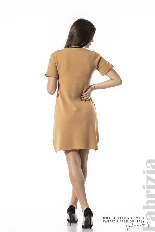Къса едноцветна рокля камел 5 fabrizia