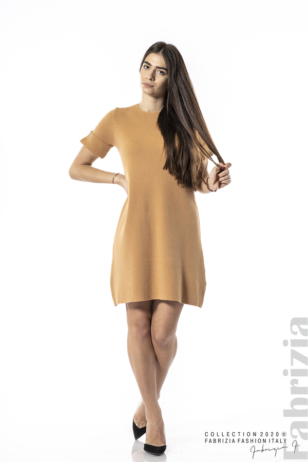 Къса едноцветна рокля камел 3 fabrizia