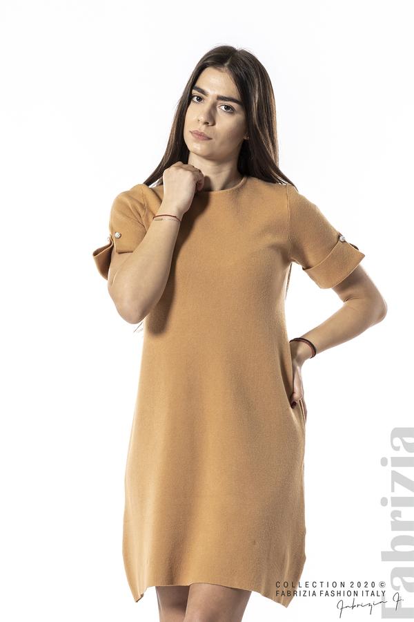 Къса едноцветна рокля камел 4 fabrizia