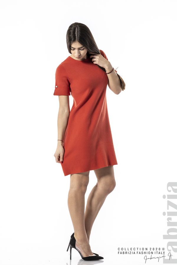 Къса едноцветна рокля т.оранж 4 fabrizia