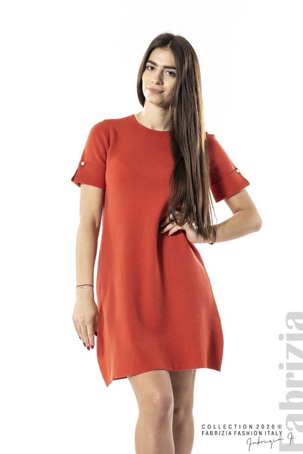 Къса едноцветна рокля т.оранж 3 fabrizia