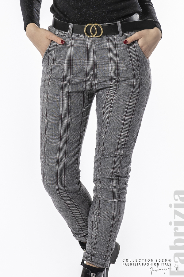 Панталон каре с намачкан ефект сив 3 fabrizia