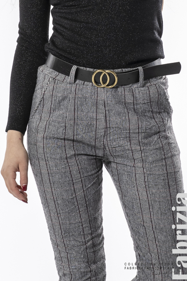 Панталон каре с намачкан ефект сив 4 fabrizia