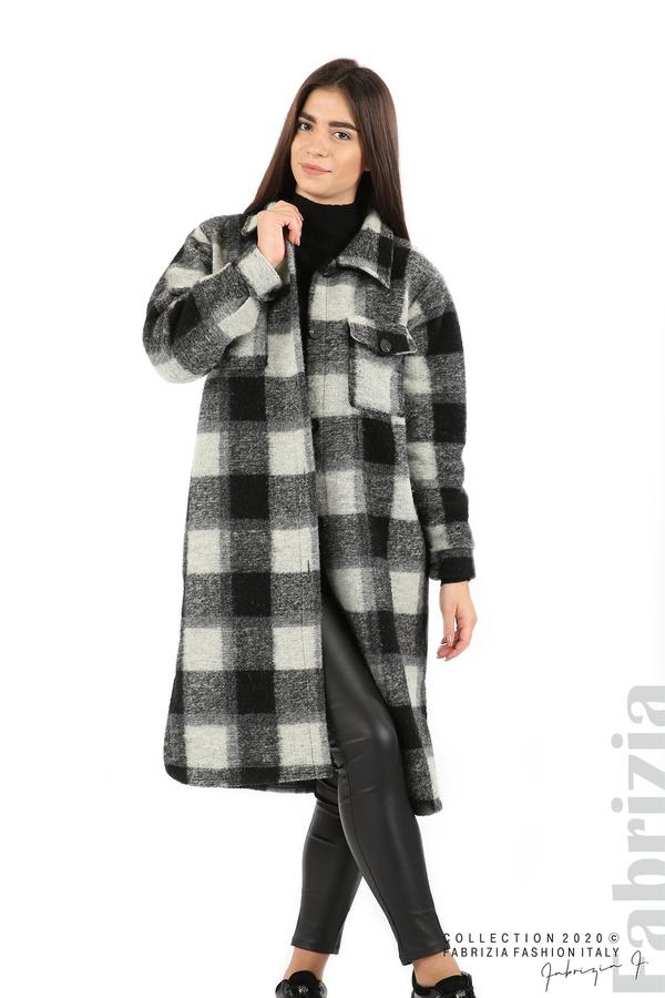 Дълго карирано палто сив/черен 1 fabrizia