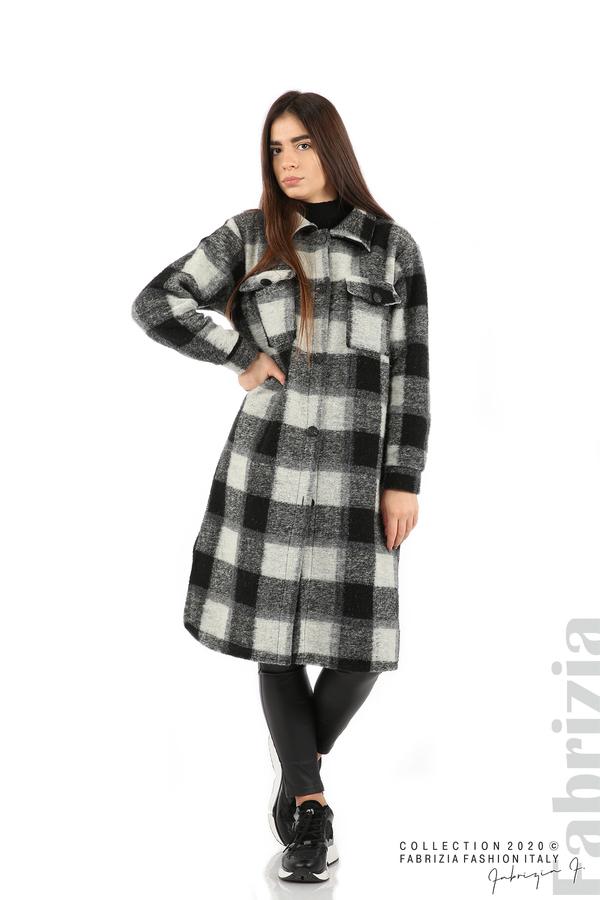 Дълго карирано палто сив/черен 3 fabrizia