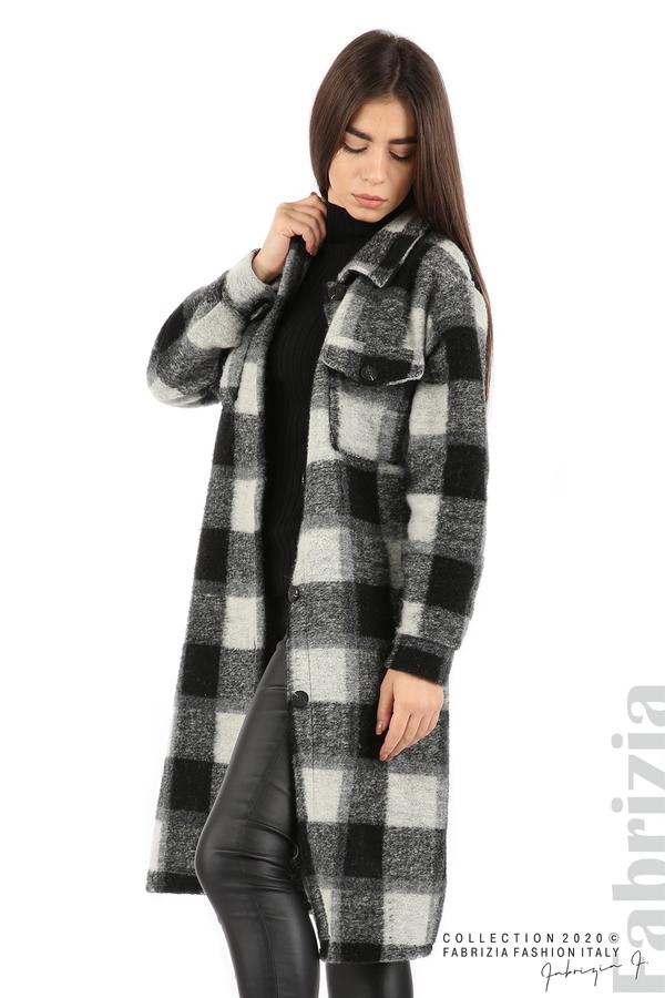 Дълго карирано палто сив/черен 2 fabrizia