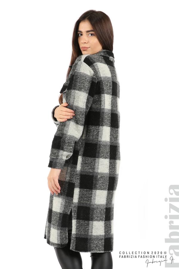Дълго карирано палто сив/черен 5 fabrizia