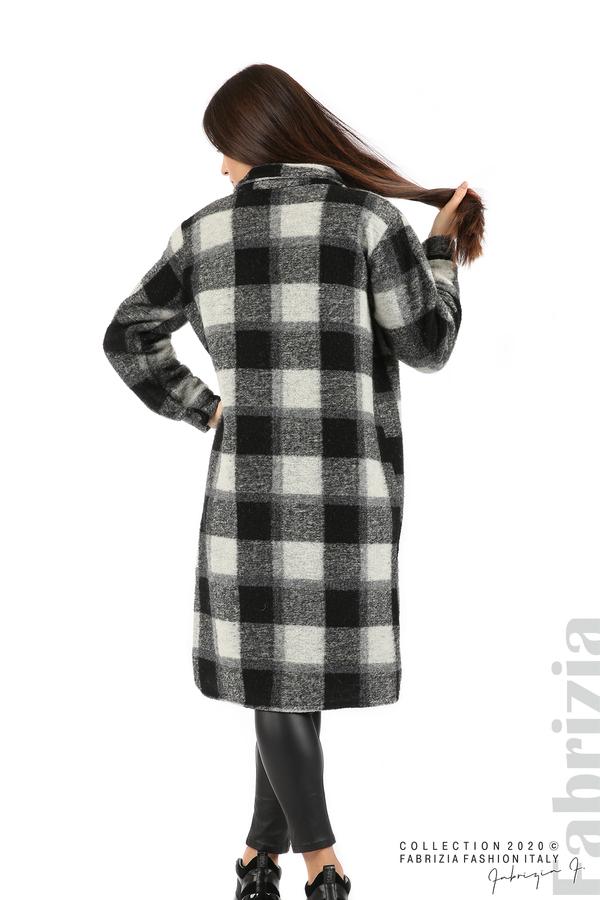 Дълго карирано палто сив/черен 6 fabrizia