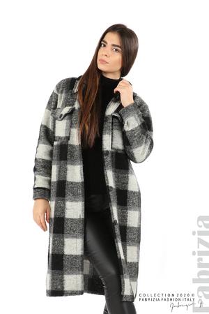 Дълго карирано палто без подплата