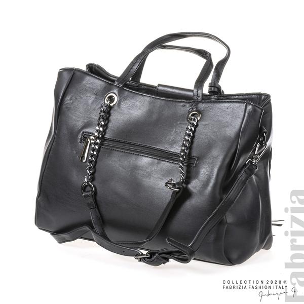 Капитонирана кожена чанта-черен-2