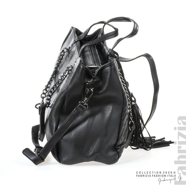 Капитонирана кожена чанта-черен-3