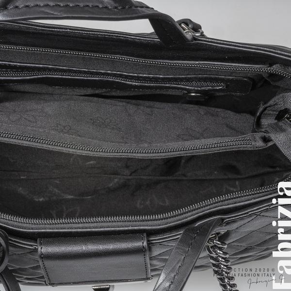 Капитонирана кожена чанта-черен-4