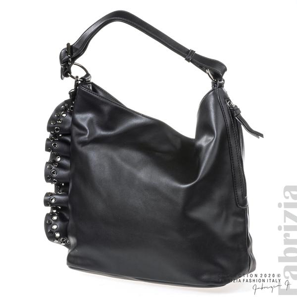 Широка кожена чанта с капси-черен-3