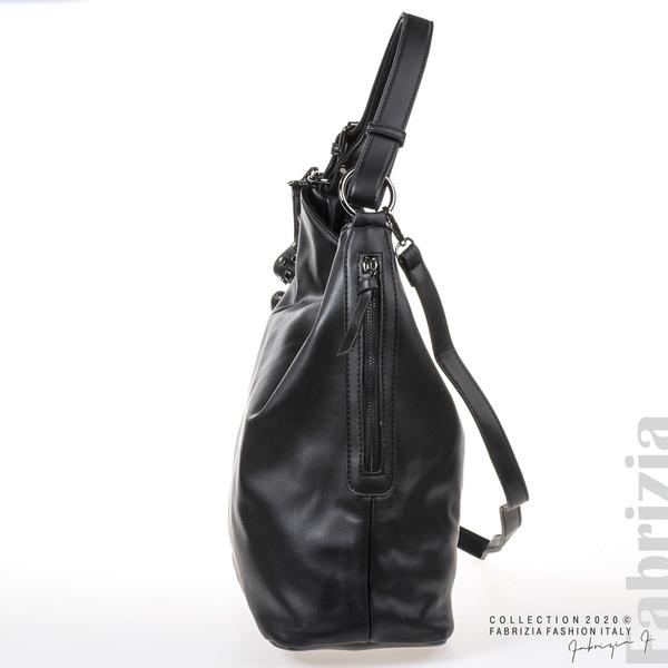Широка кожена чанта с капси-черен-4
