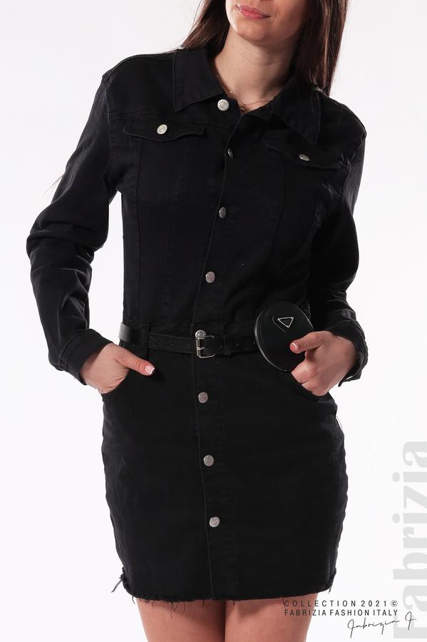 Черен сукман с аксесоар черен 2 fabrizia