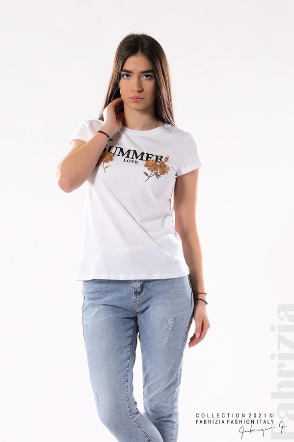 Блуза Summer клонки от пайети бял/златист 1 fabrizia
