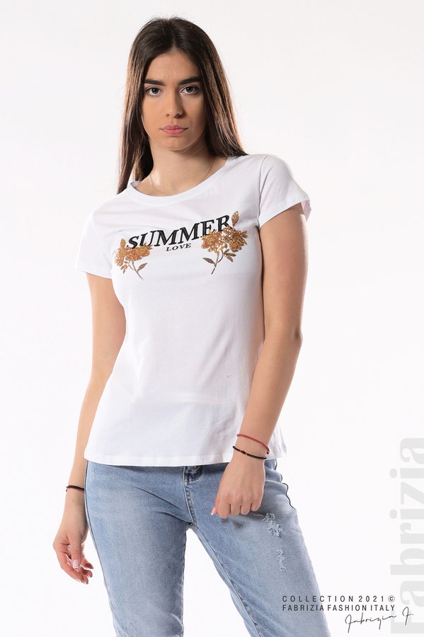 Блуза Summer клонки от пайети бял/златист 2 fabrizia