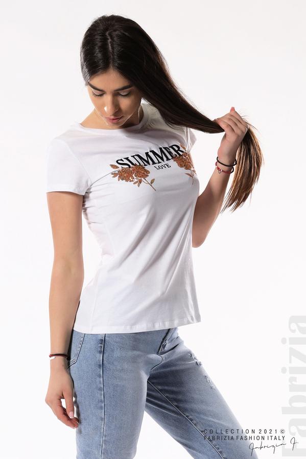 Блуза Summer клонки от пайети бял/златист 4 fabrizia
