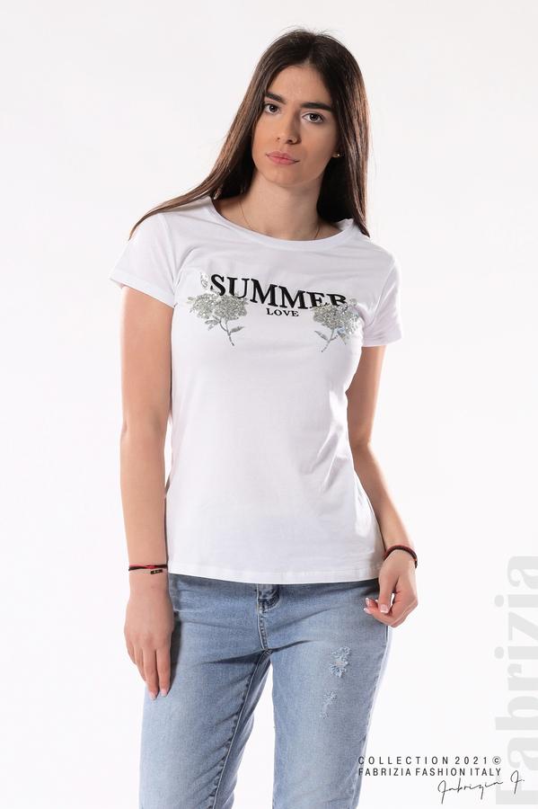 Блуза Summer клонки от пайети бял/сребрист 2 fabrizia