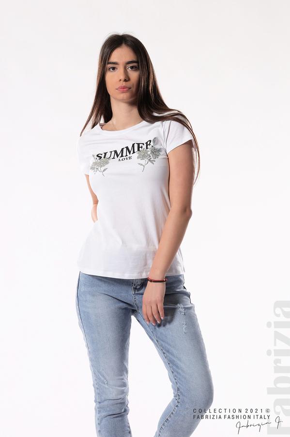 Блуза Summer клонки от пайети бял/сребрист 1 fabrizia
