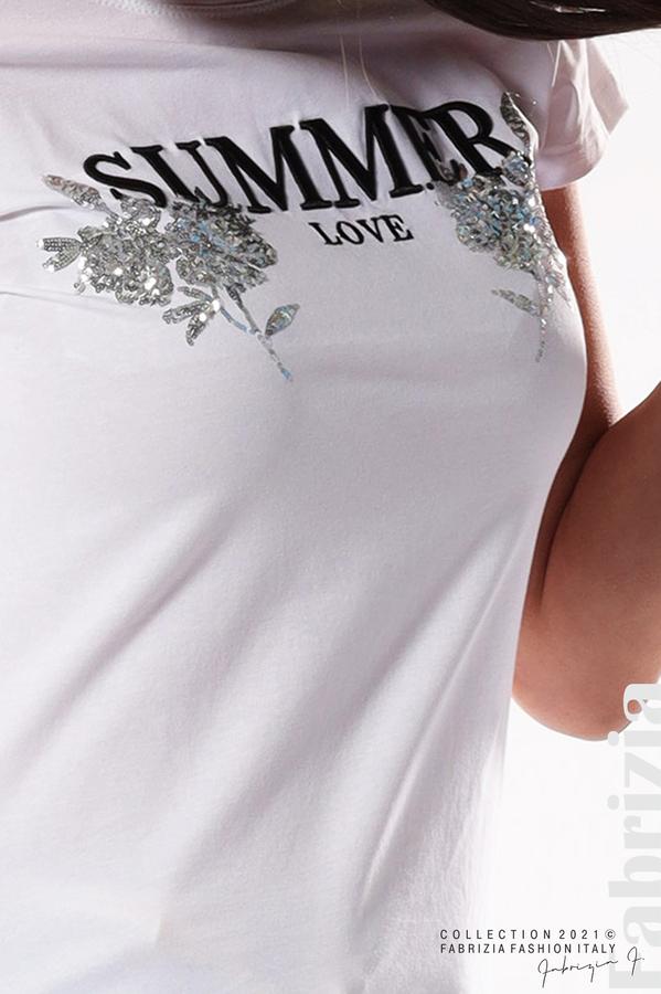 Блуза Summer клонки от пайети бял/сребрист 3 fabrizia
