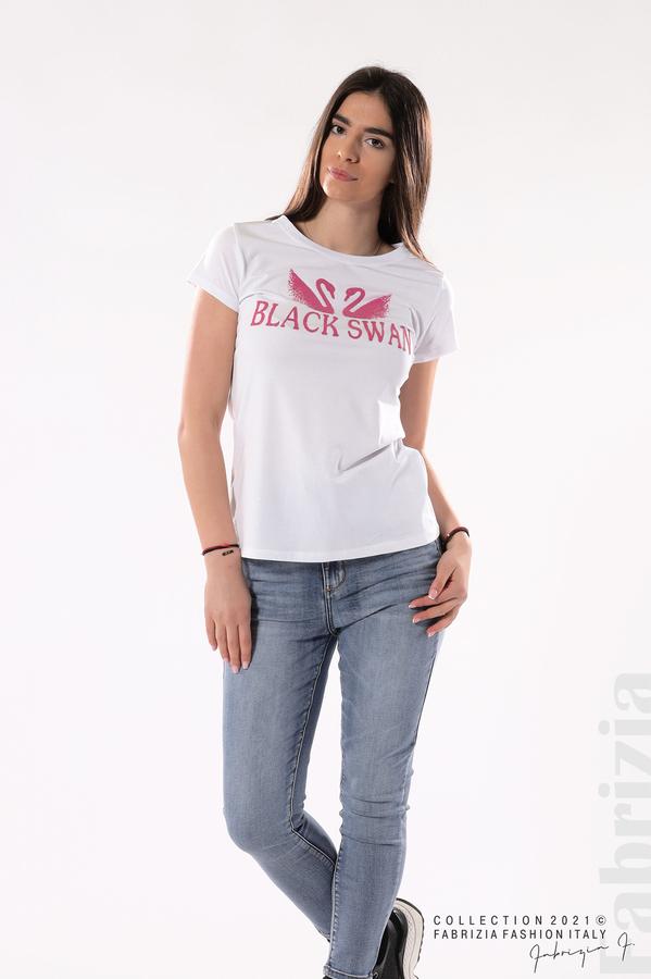 Блуза Black Swan бял/розов 3 fabrizia