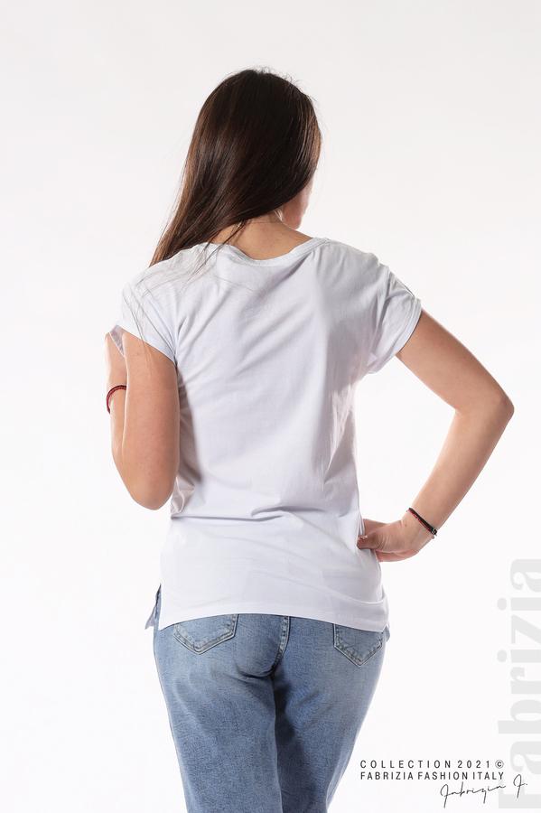 Блуза с мече и надписи бял 5 fabrizia