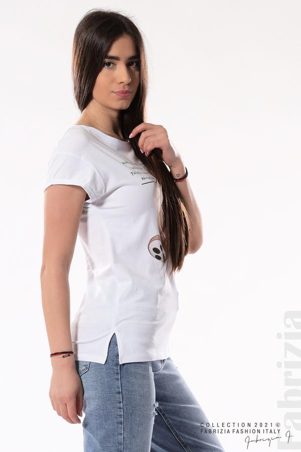 Блуза с мече и надписи бял 3 fabrizia