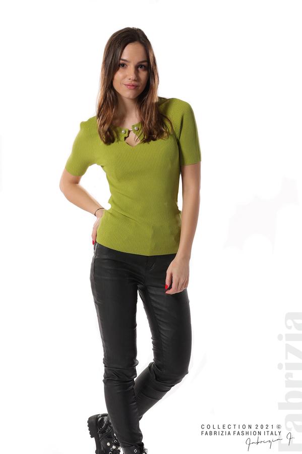Рипсена блуза с игла тр.зелен 3 fabrizia