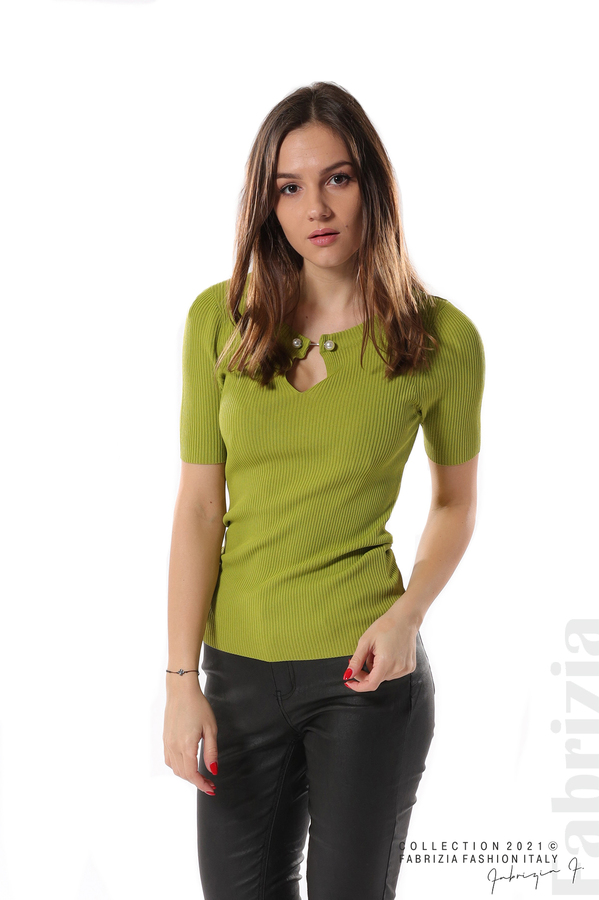 Рипсена блуза с игла тр.зелен 1 fabrizia