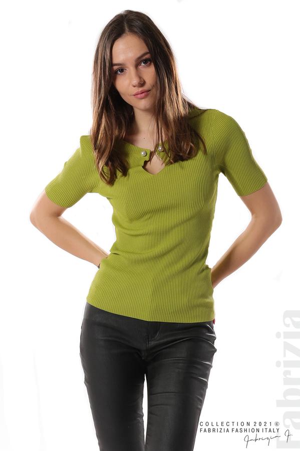 Рипсена блуза с игла тр.зелен 2 fabrizia