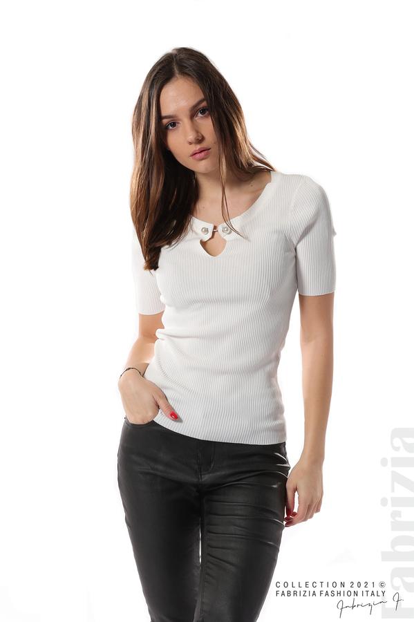 Рипсена блуза с игла бял 1 fabrizia