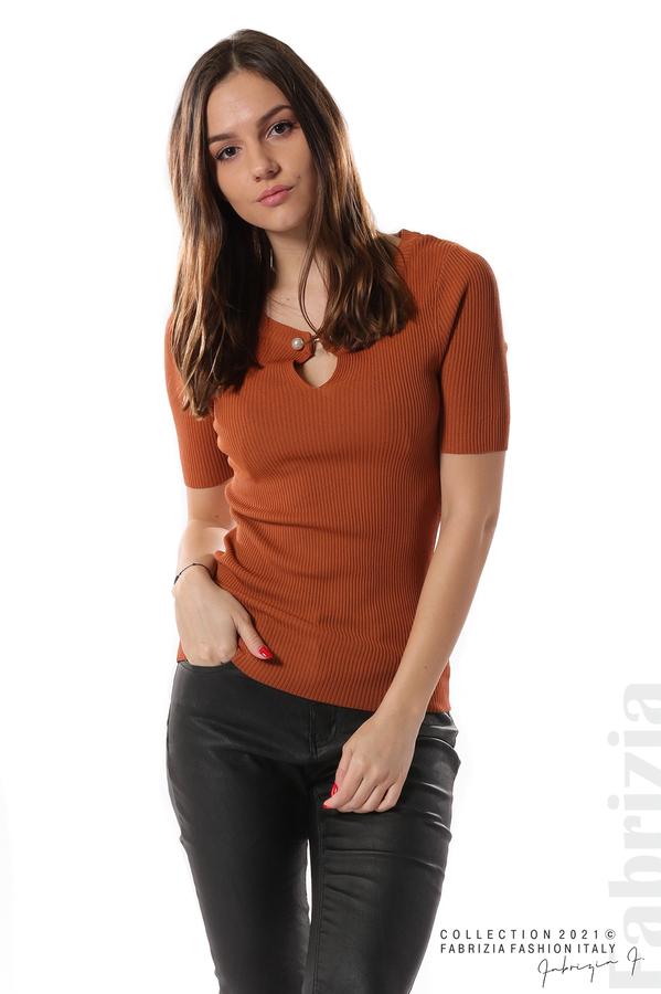 Рипсена блуза с игла камел 2 fabrizia