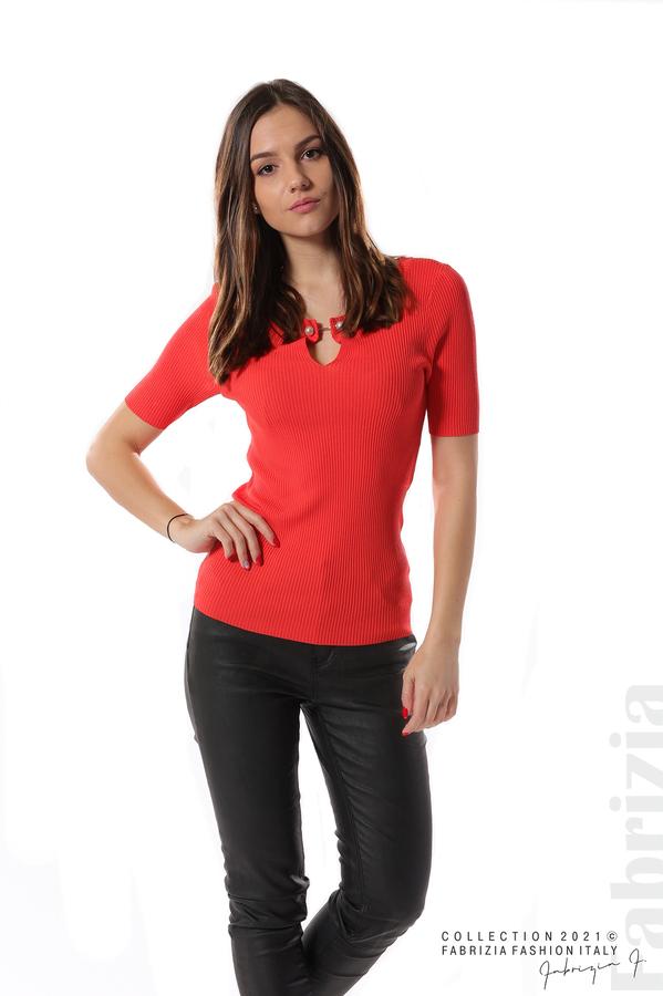 Рипсена блуза с игла т.оранж 2 fabrizia