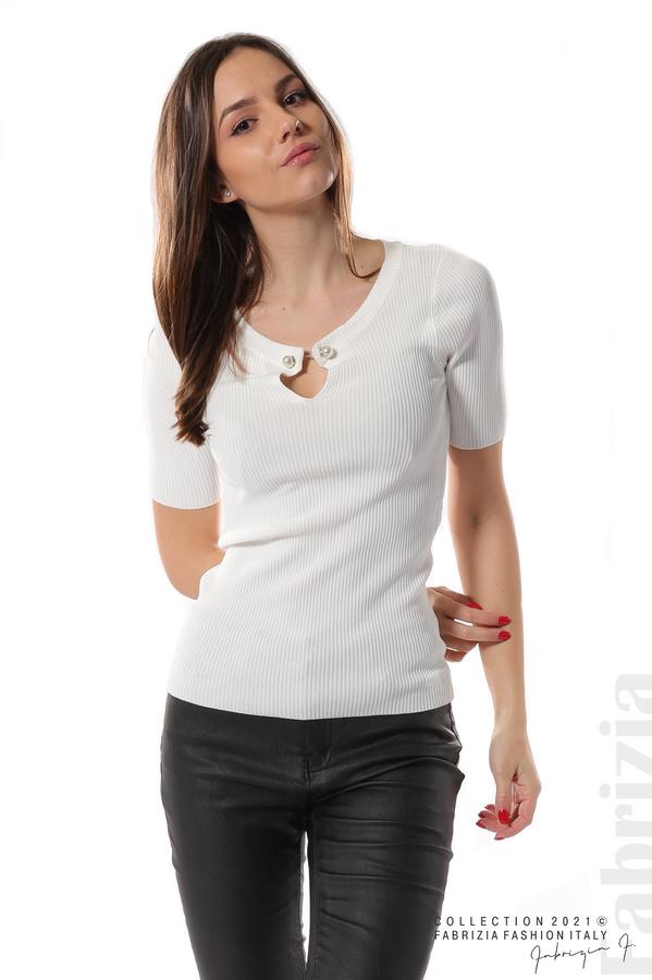 Рипсена блуза с игла бял 2 fabrizia