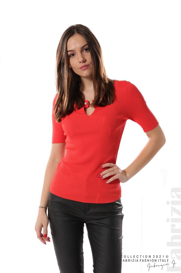Рипсена блуза с игла т.оранж 1 fabrizia
