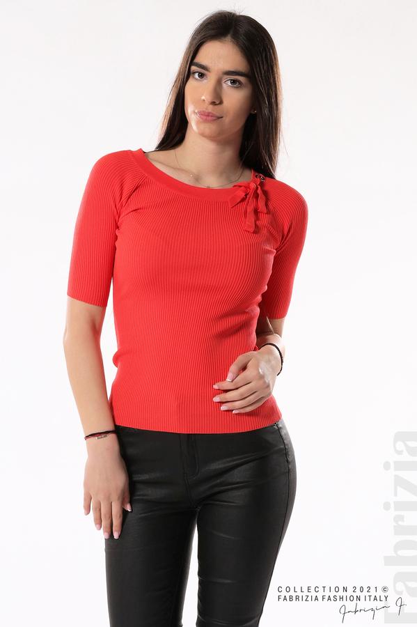 Рипсена блуза с връзка т.оранж 2 fabrizia