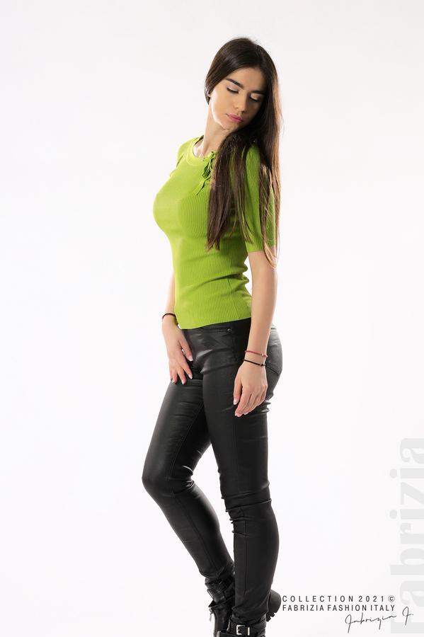 Рипсена блуза с връзка тр.зелен 3 fabrizia