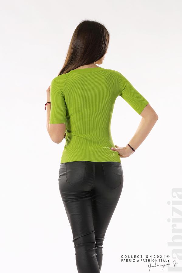 Рипсена блуза с връзка тр.зелен 5 fabrizia
