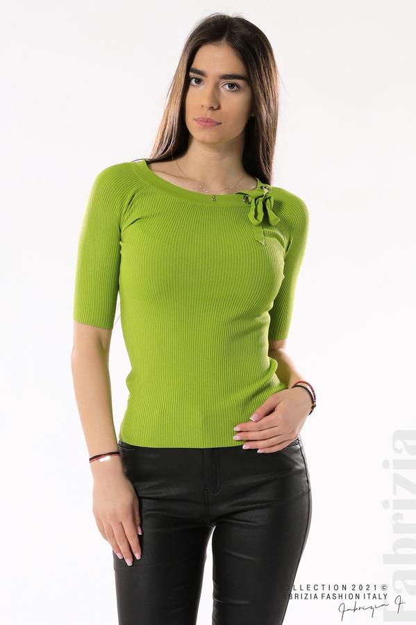 Рипсена блуза с връзка тр.зелен 2 fabrizia