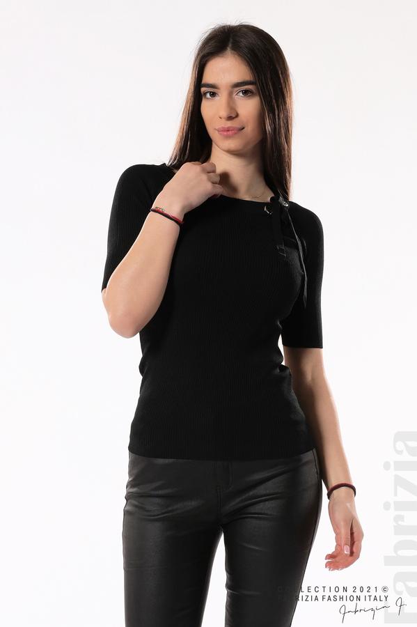 Рипсена блуза с връзка черен 2 fabrizia