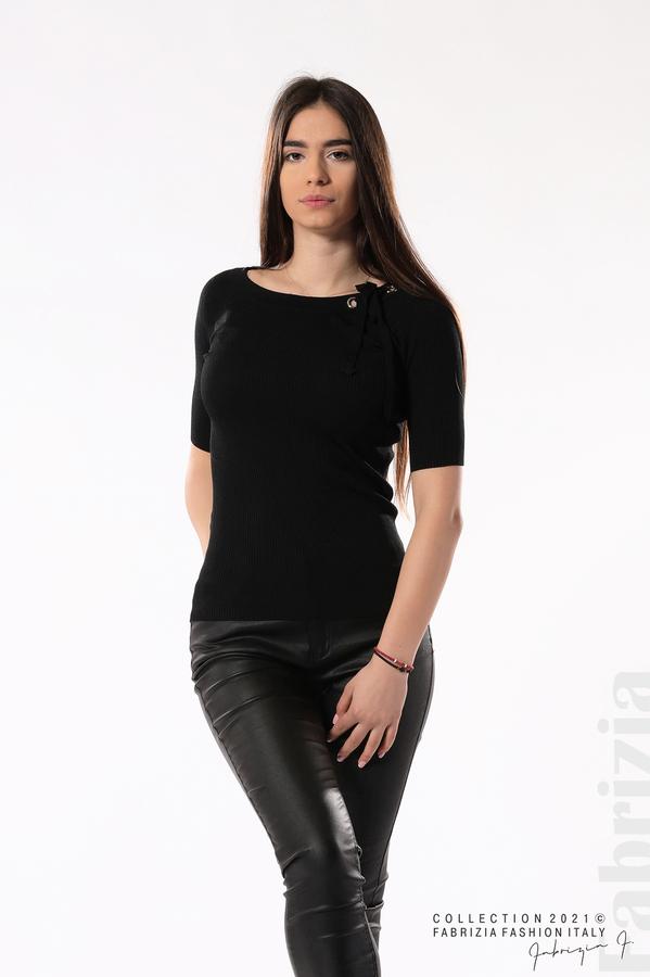 Рипсена блуза с връзка черен 3 fabrizia