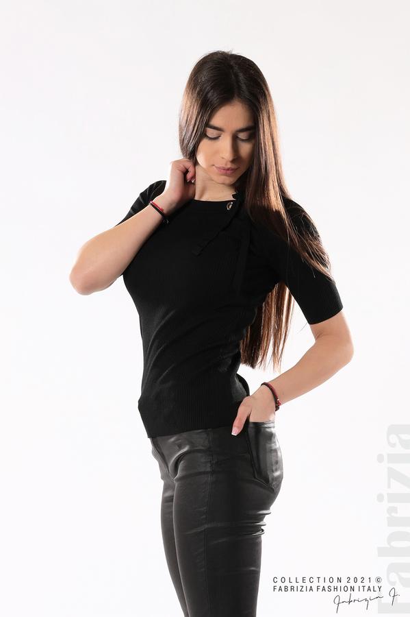 Рипсена блуза с връзка черен 1 fabrizia
