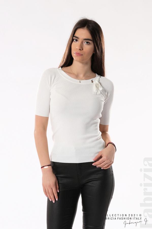 Рипсена блуза с връзка бял 1 fabrizia