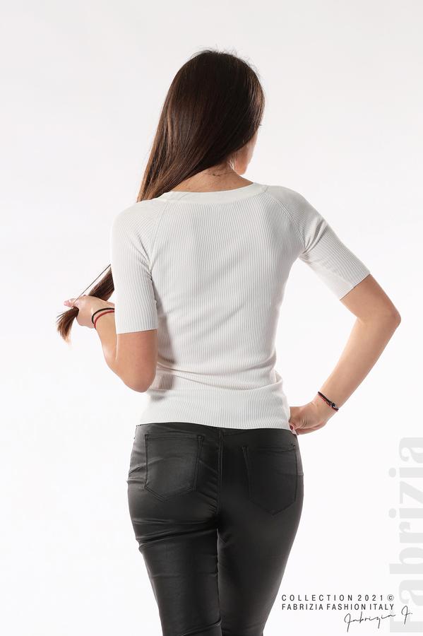 Рипсена блуза с връзка бял 4 fabrizia