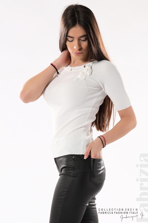 Рипсена блуза с връзка бял 2 fabrizia