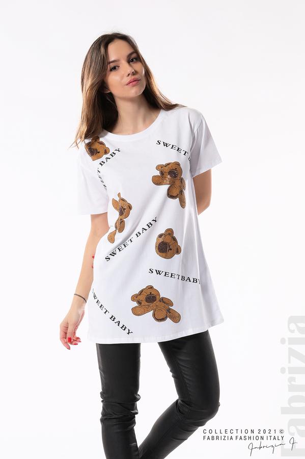Блуза с мечета Sweet baby бял/кафяв 1 fabrizia