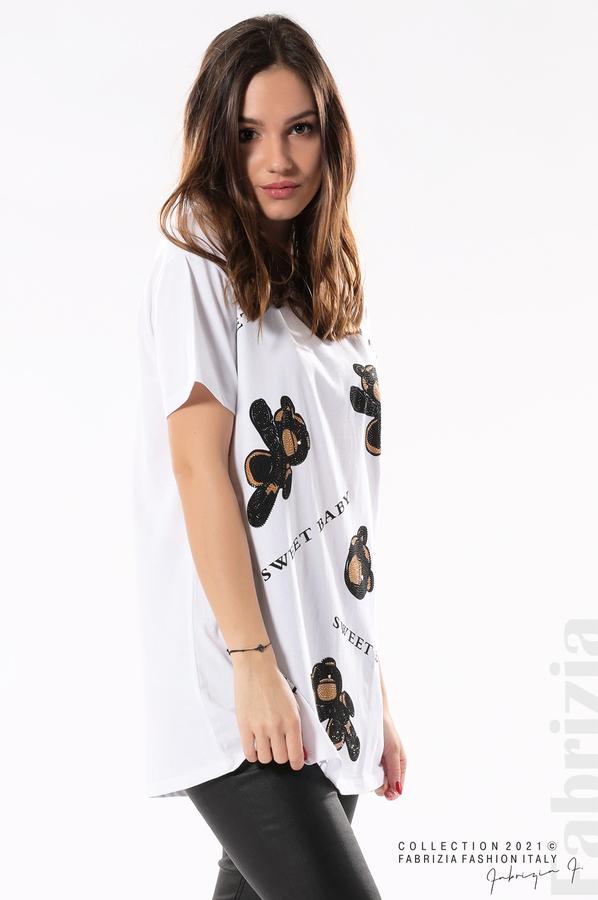 Блуза с мечета Sweet baby бял/черен 2 fabrizia